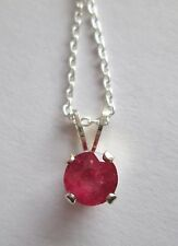 "Genuine Ruby, Sterling Silver Pendant & 16"" Chain 1.72 grams TWT, # TJS 3032"