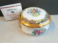 Vintage Imperia Limoges France 22K Porcelain Trinket Box Handpainted 4x2�