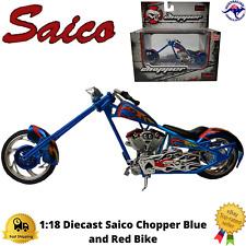 Diecast Model Bike 1:18 Saico Chopper Blue Red Mini Collectable Boxed Gift New