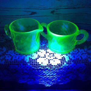 Vintage Anchor Hocking Green Uranium Glass Spiral Footed Creamer & Sugar Bowl