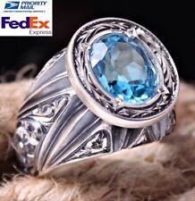 NATURAL Aquamarine Stone 925 Sterling Silver Mens Ring Sz 10  Free Resize