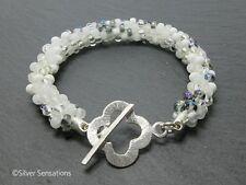 White Blue Clear Random Mix Kumihimo Seed Bead Fashion Bracelet