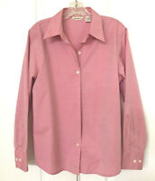 Eddie Bauer Wrinkle Resistant SIZE L Pink Button Front Blouse