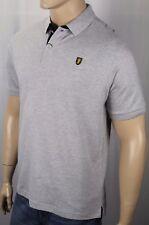 David Chu Lincs Light Grey Classic Fit Mesh Polo Shirt Gold Crest NWT