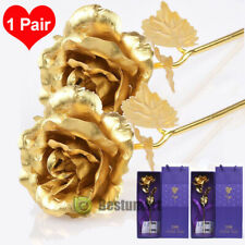 2xValentine's Day Gift 24K Gold Plated Rose Flower Romantic fr Lover Girl Friend