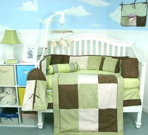 SoHo Baby Crib Nursery Bedding, Sage & Brown Suede, 10 piece Set