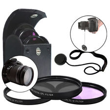 52MM 3 Piece Coated Lens Protector Filter Kit UV CPL FLD+ Lens Cap Holder Keeper