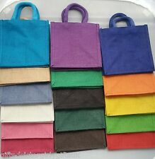 4 x Luxury Plain Jute Gift Lunch Bags - Natural Hessian - choose colour mix