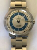 MAN OMEGA DYNAMIC Geneve Automatic Date Two Tone Blue Dial  Authentic Vintage