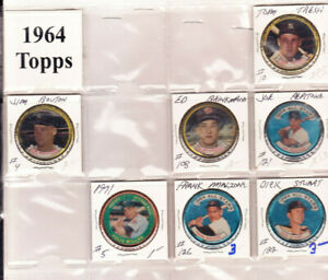 7 LOT VINTAGE 1964 TOPPS COINS JIM BOUTON TOM TRESH JOE PEPITONE FRANK MALZONE +