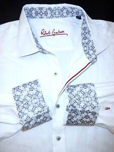 ROBERT GRAHAM BUTTON SHIRT -XXL- WHITE SHINY JACQUARD PAISLEY WILD FLIP CUFF