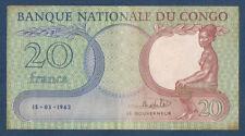 BILLET de BANQUE du CONGO - 20 FRANCS Pick n° 4.a du 15-03-1962 en TTB P465123