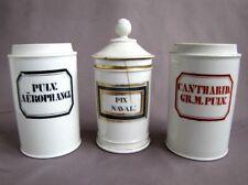 3 Anciens Pots à Pharmacie en Porcelaine XIX ème Apothicaire E. Peignet Paris
