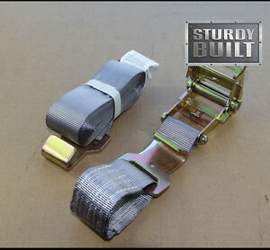 """2x Ratchet Strap Tie Down 2""""x20' 50mm Flat Hook Flatbed Cargo Truck Trailer Tow"""