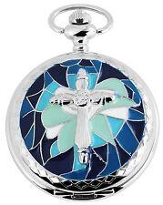 Taschenuhr Weiß Silber Blau Kreuz Quarz Herrenuhr D-50742413057520