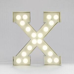 Seletti Vegaz Metall Buchstabe X Tischlampe Weiß
