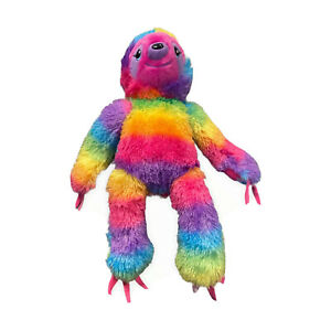 Build A Bear Sloth Rainbow Plush Sticky Pad Hands Feet Toy Laundered Pink Purple