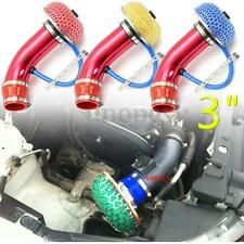 "Universal 3"" Turbo Car Cold Air Intake Aluminum Pipe Filter Flow Kit Hose System"
