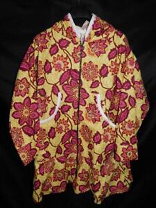 Alaska Native Eskimo Kuspuk 2X 3X Yellow Pink Floral Tunic Shirt Jacket Full Zip
