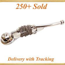 "5"" Brass Boatswain Whistle w Chain Bosun Call Pipe Nautical Marine chrome finish"