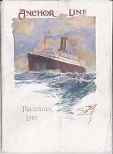 1920 ANCHOR LINE PASSENGER LIST TSS COLUMBIA EX WW1 ARMED MERCHANT CRUISER