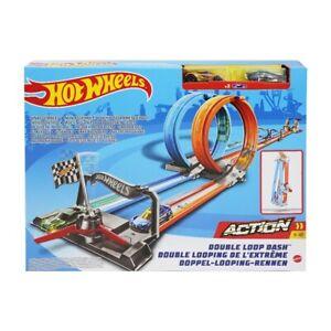 Pista Hot Wheels Doppio Giro Mortale, 2 auto e lanciatore, 5+