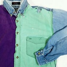 Vintage 80s 90s Color Block Hip Hop Distressed Trashed Polo Shirt Denim Jean M