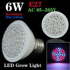 1 LAMPADA HYDROPONIC E27 GROW 60LED 6W CRESCITA VELOCE INDOR15 LED BLU 45 ROSSI