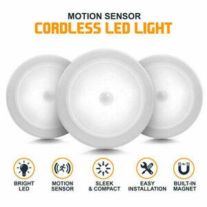 3PCS Motion Sensor Night Light PIR Wireless 6LED Battery Cabinet Stair Wall Lamp