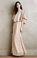 NEW Anthropologie Sunday Brooklyn nude blush pink Satin Swing Cape Maxi Dress 10