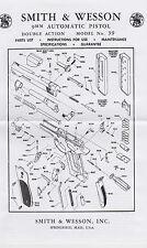 P -1021  S&W  MODEL  39  auto pistol  DOUBLE ACTION     PARTS LIST