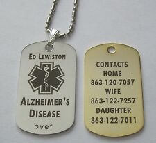 Gold or Silver Tone Metal Alzheimer's Id Alert Tag - Free Engraving