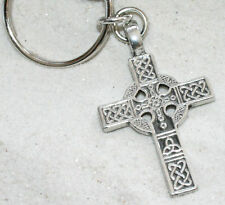 CELTIC CROSS IRISH KNOT Pewter KEYCHAIN Key Chain Ring