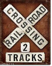 Railroad Crossing  Vintage Style Metal Signs Man Cave Garage Decor 69