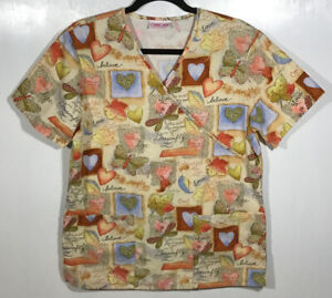 Fall Scrub Top womens size S Small by Cherokee fall leaves Autumn dragonflies