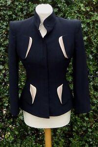 Alexander McQueen JACKET BLACK & BEIGE FITTED STYLE Size IT 40 UK 8 VGC