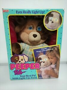 Galoob PEEPER PALS vintage collectors plush electric dog light up eyes