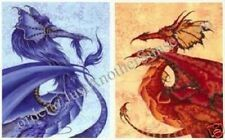 Amy Brown Signed Prints Fire and Ice Dragon Set of 2 Red Blue Elementals Fantasy