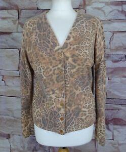PER UNA Marks and Spencer leopard print cardigan wool angora blend XL