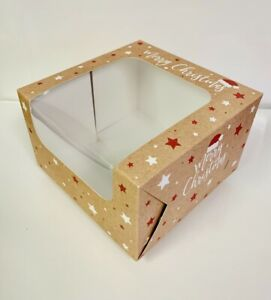 CHRISTMAS CAKE BOXES  FESTIVE Square with clear Window Choose size & quantity