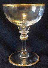 Daum coupe champagne H 12,4 cm cristal peigne or côtes vénitiennes XIXe