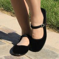 Donna Rosso Fuoco Scarpe Stile Mary Jane Classico Velluto Ballerine Cotone Basse