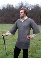 Round Riveted With Flat Warser Chainmail Shirt 9 mm Large Size Half Sleeve Huber
