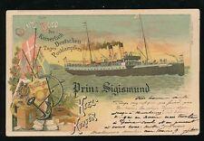 Shipping Gruss Bord Prinz Sigismund 1908 PPC + Kiel-Korsor DPSK POSTKT postmark