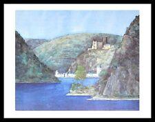 Helga westphal Lorelei st GOARSHAUSEN et château Katz poster art imprimé & cadre