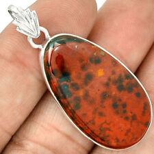 Bloodstone ( Heliotrope ) 925 Sterling Silver Pendant Jewellery