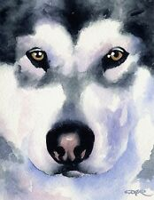 Alaskan Malamute Painting Dog 8 x 10 Art Print Signed Djr