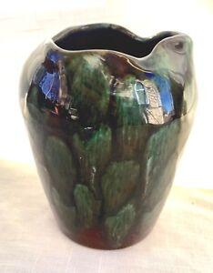 Vintage Schramberg Vase, Green on Black - Germany - SMP