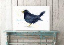 BLACKBIRD, WATERCOLOUR FINE ART/GICLEE BIRD PRINT A4 SIZE, ARCHIVAL QUALITY INK