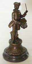 A Drummer Boy Confederate Civil War Soldier Real Bronze Sculpture Figurine Decor